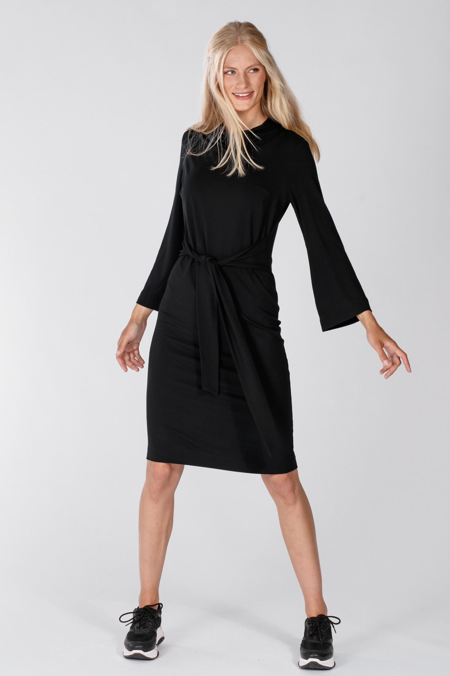 Tie me curvy jersey dress - Black