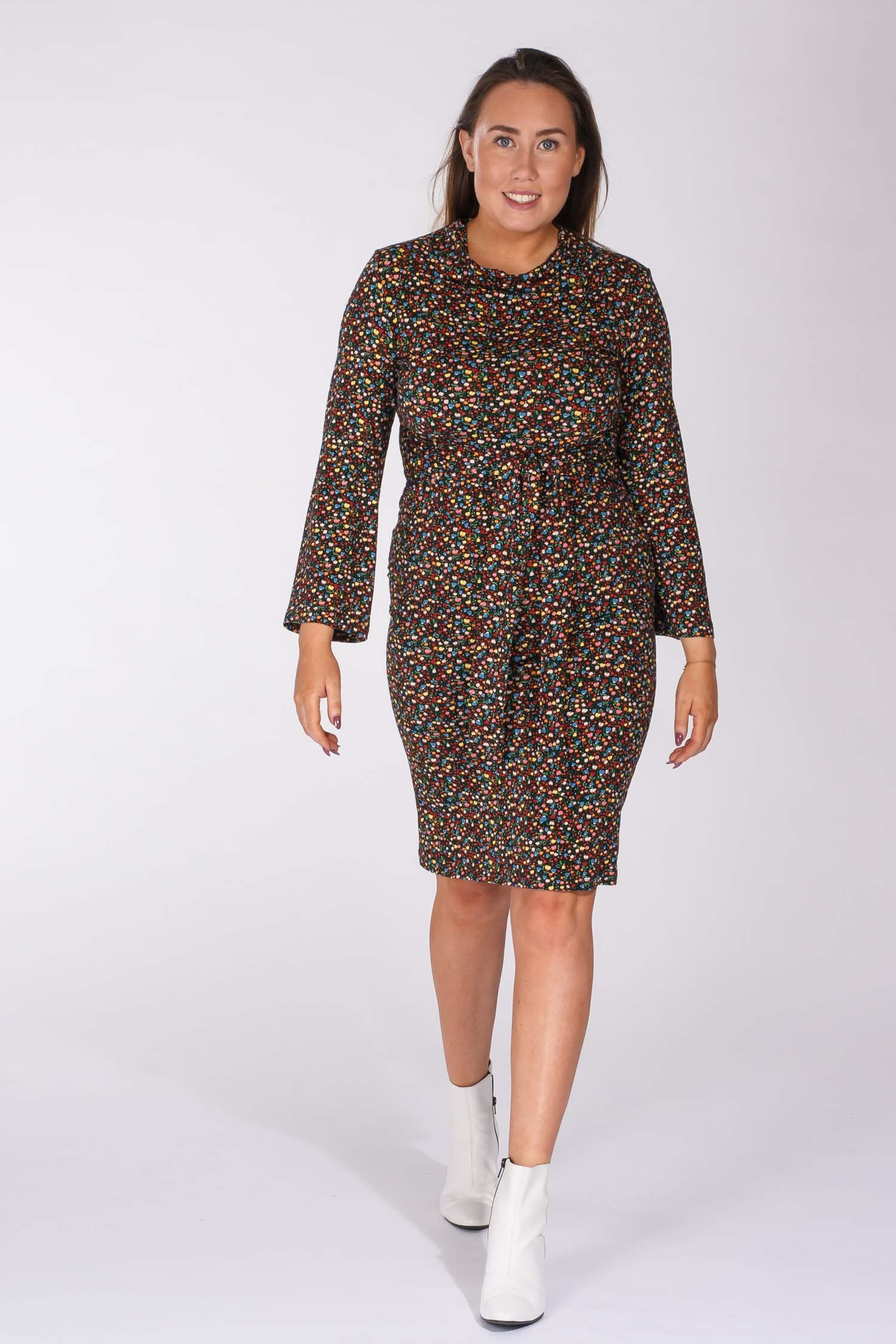 Printed Tie me curvy jersey dress - Black liberty flowers
