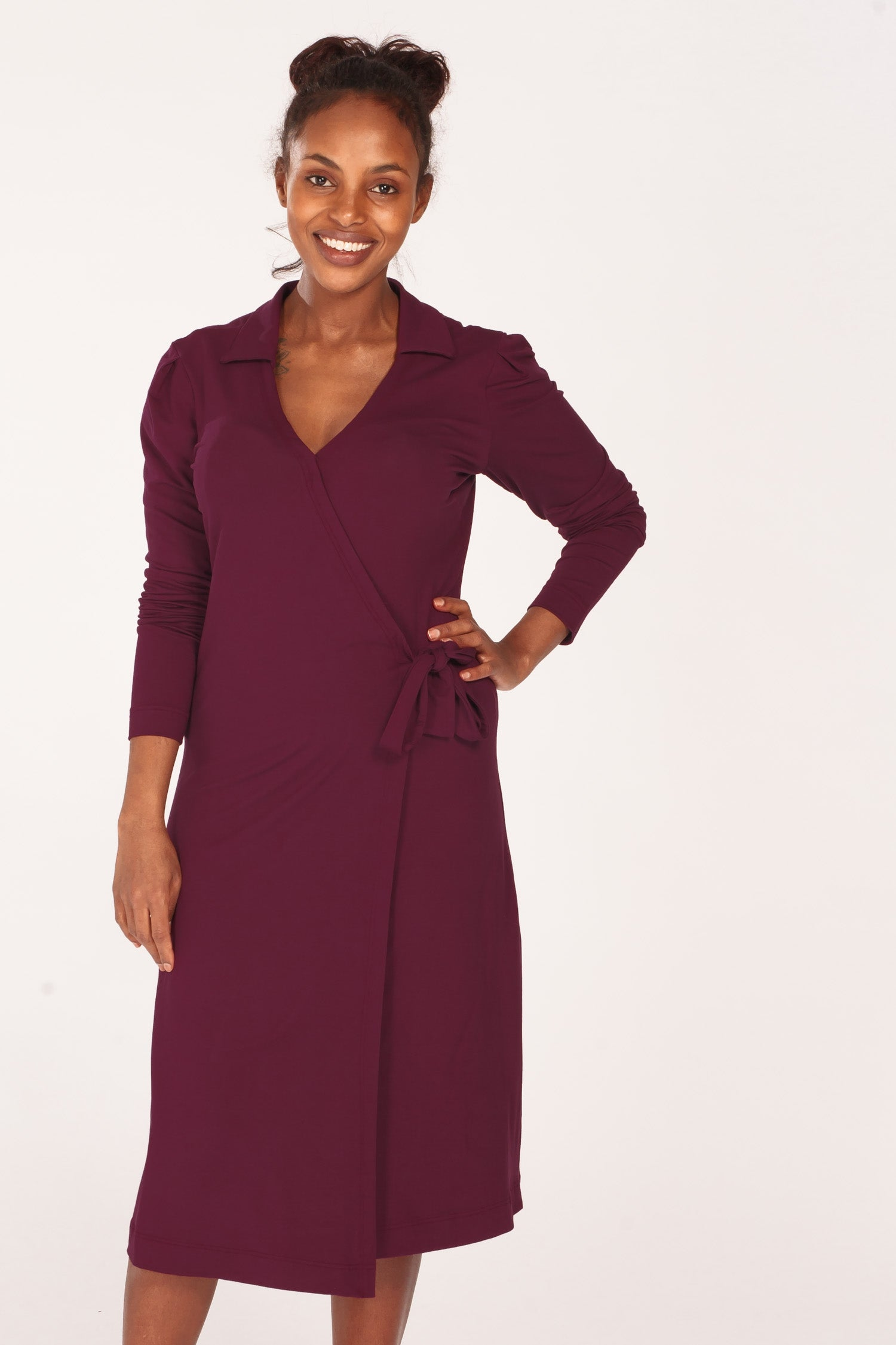 Perfect wrap jersey dress - Bordeaux