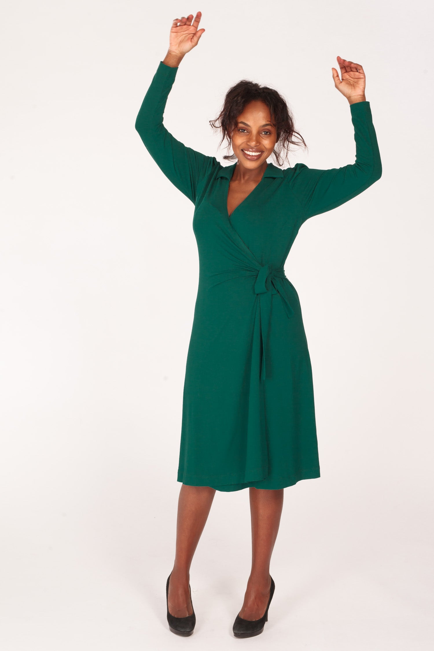 Perfect wrap jersey dress - Dark green