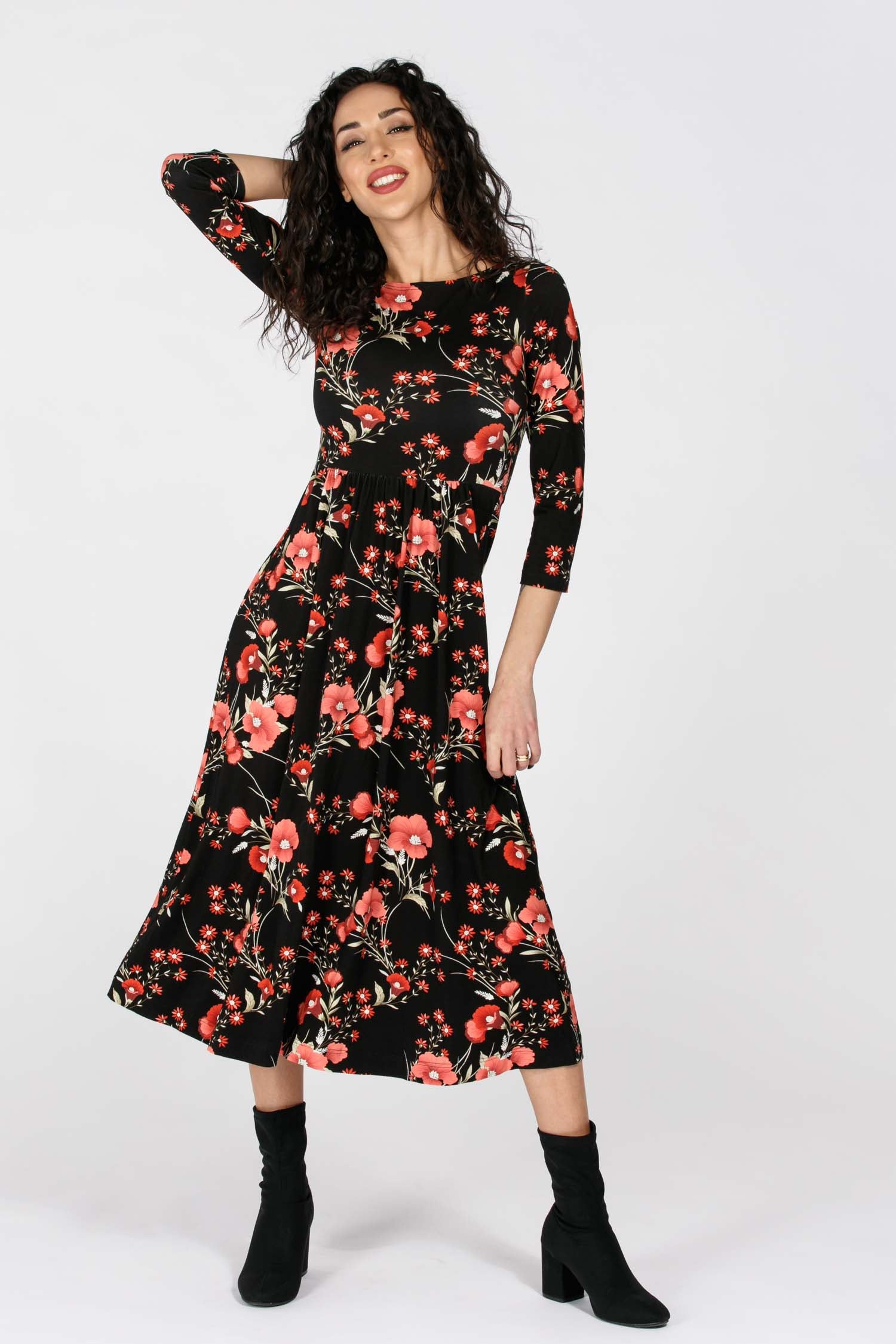 Ideal midi lenght jersey dress - Pink flower