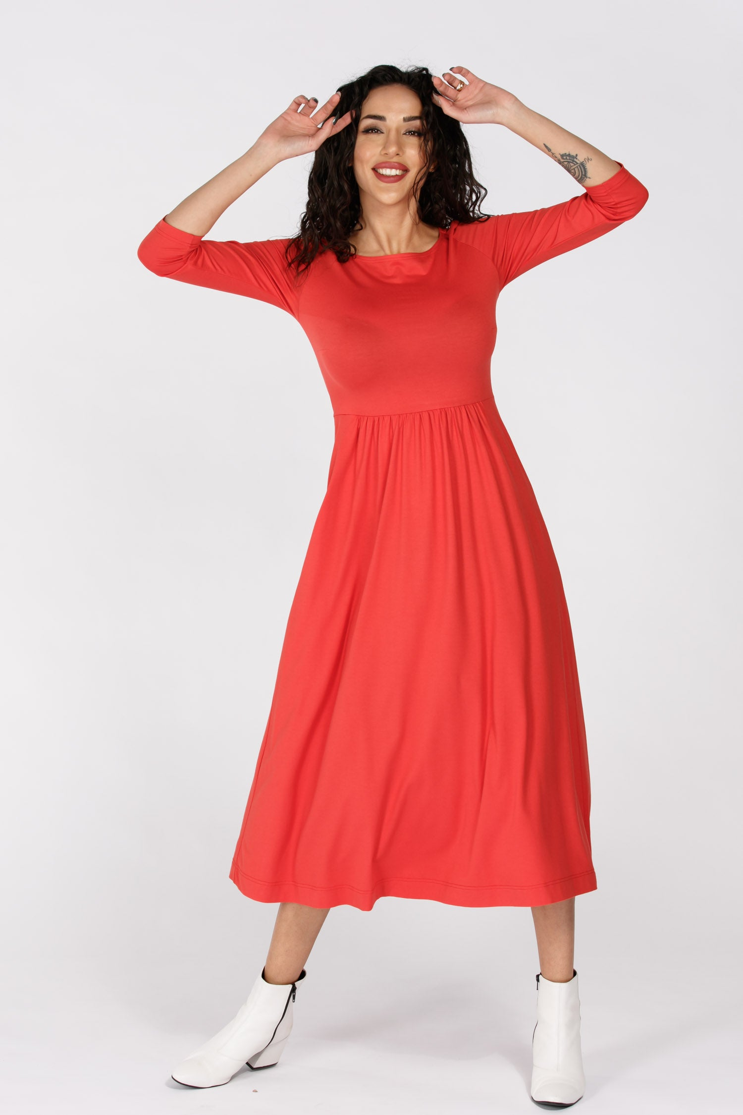 Ideal midi lenght jersey dress - Rasberry red