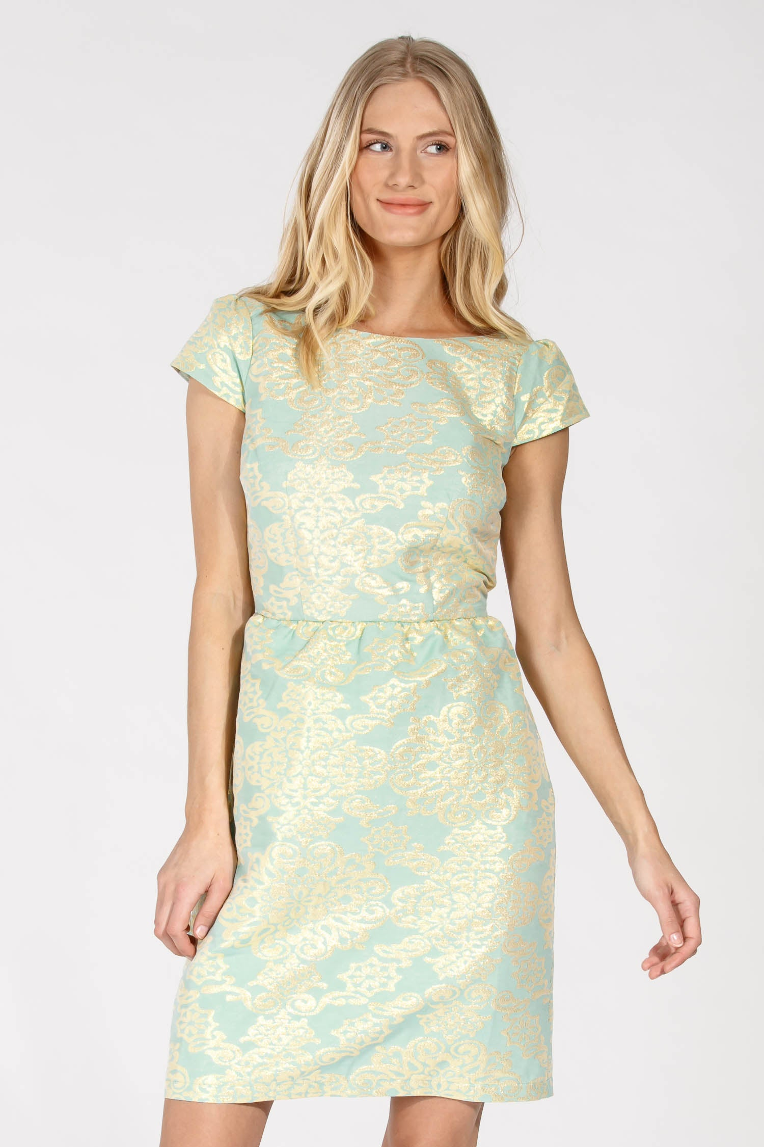 Cute metallic short dress - Turquoise gold