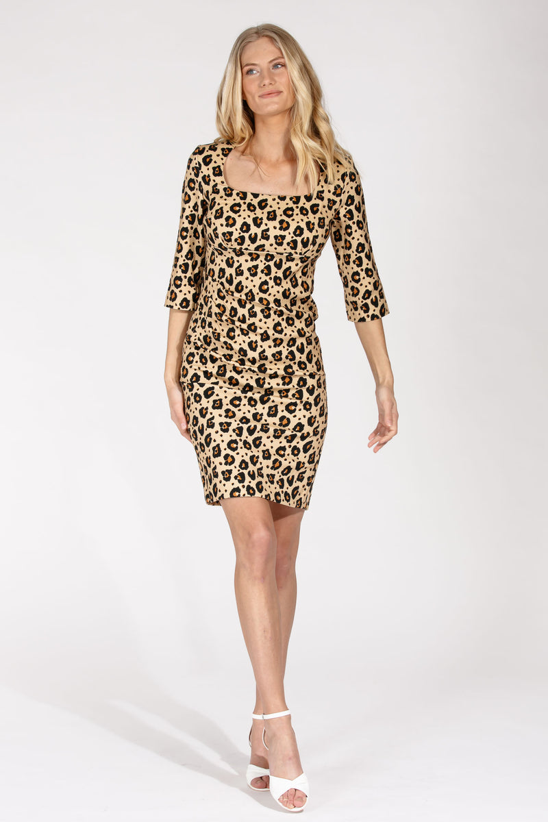 Leo printed dress - Beige
