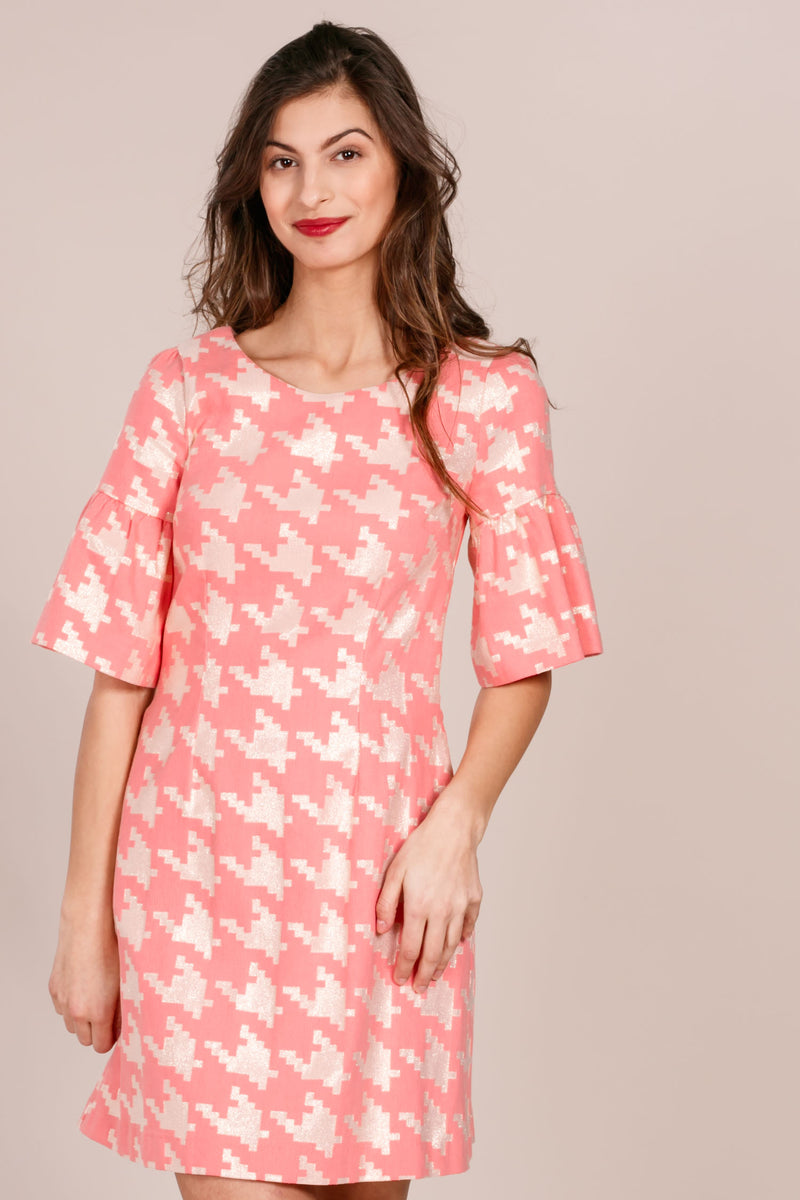 Dogtooth jaquard cute dress - Pink gold