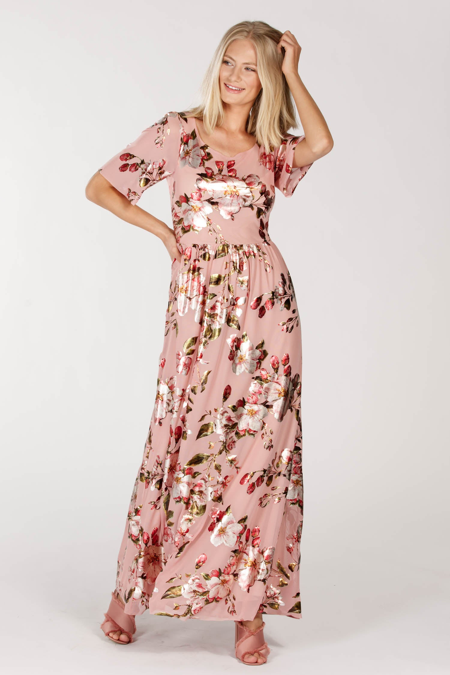 Cherry long dress - Pink