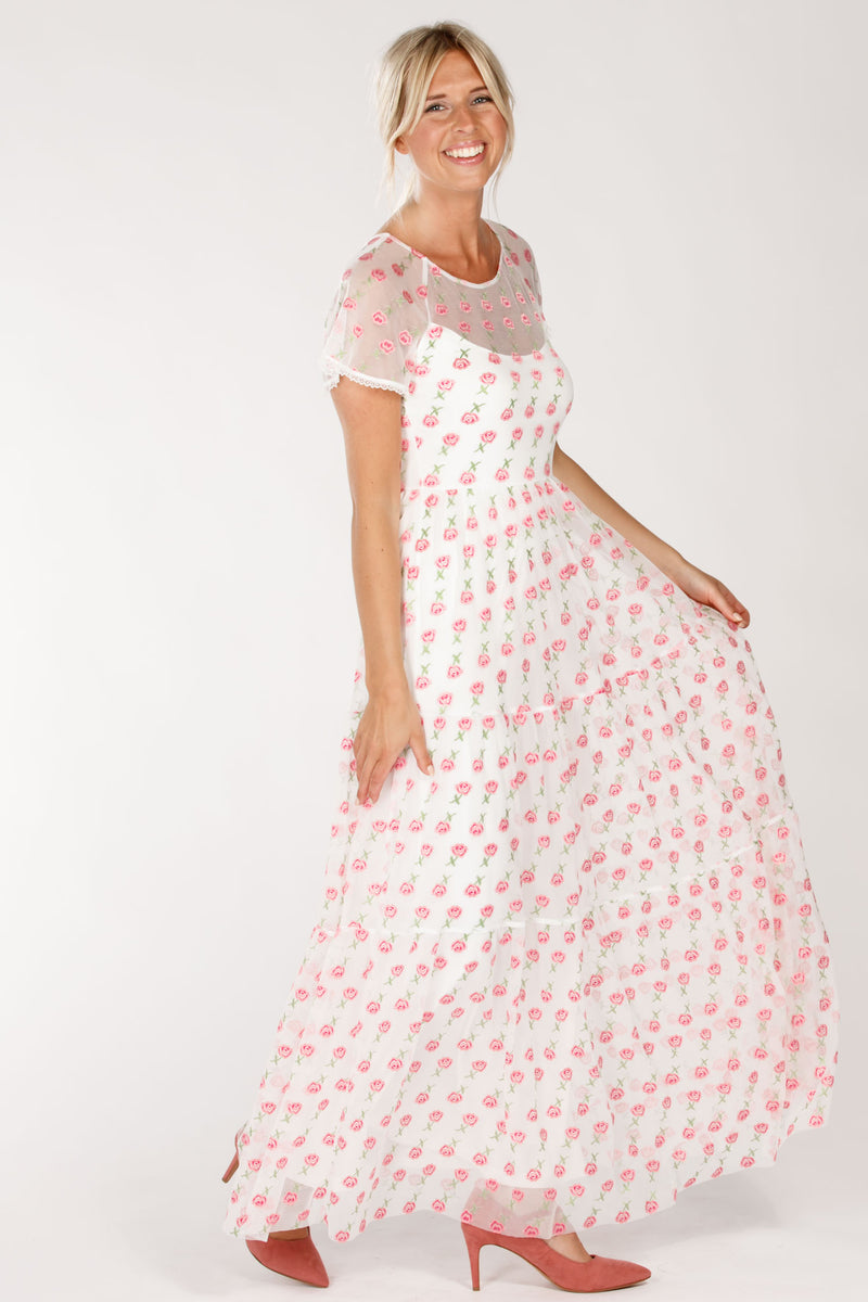 Flowering long dress - Offwhite pink