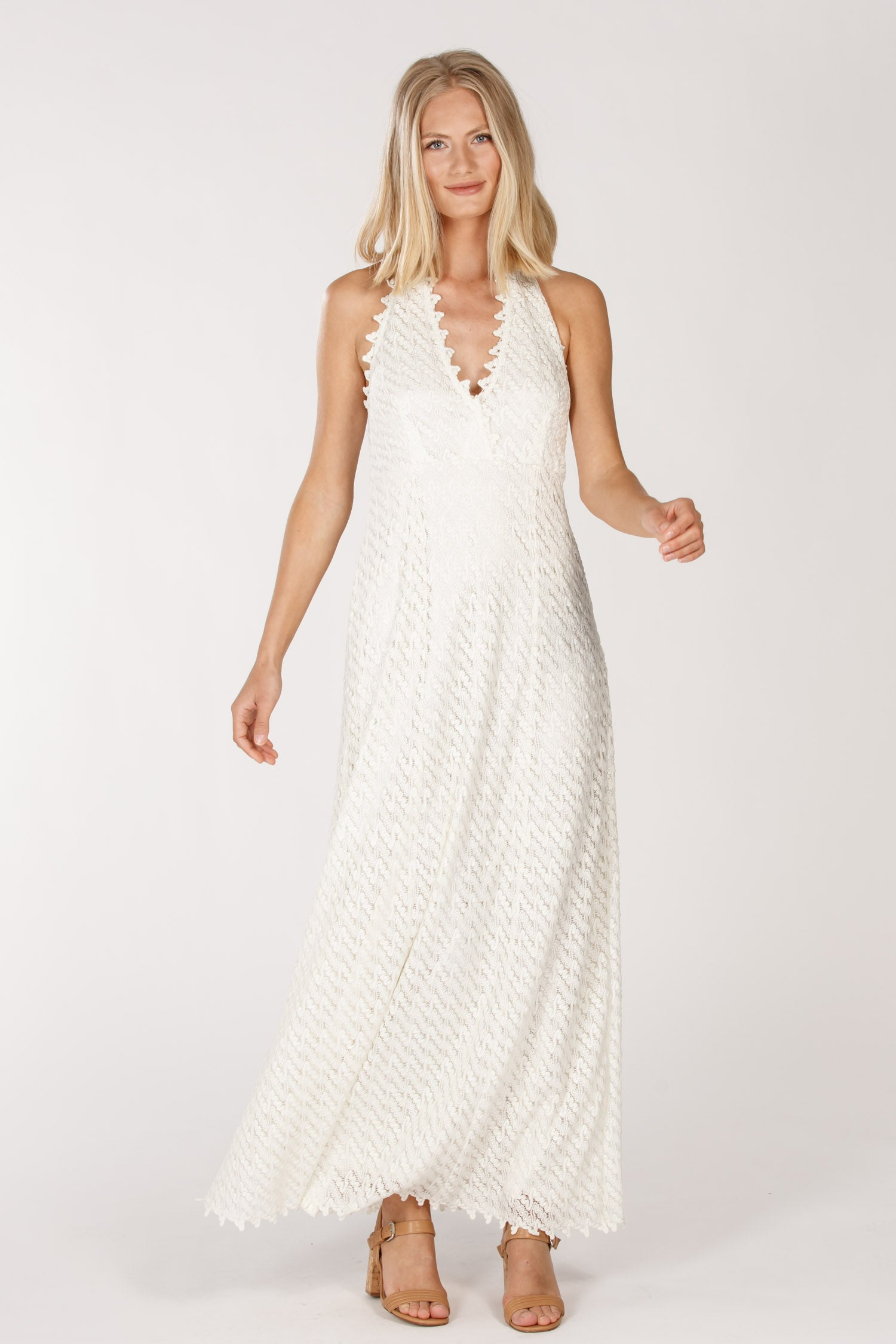 Livia long halterneck dress - Silver white