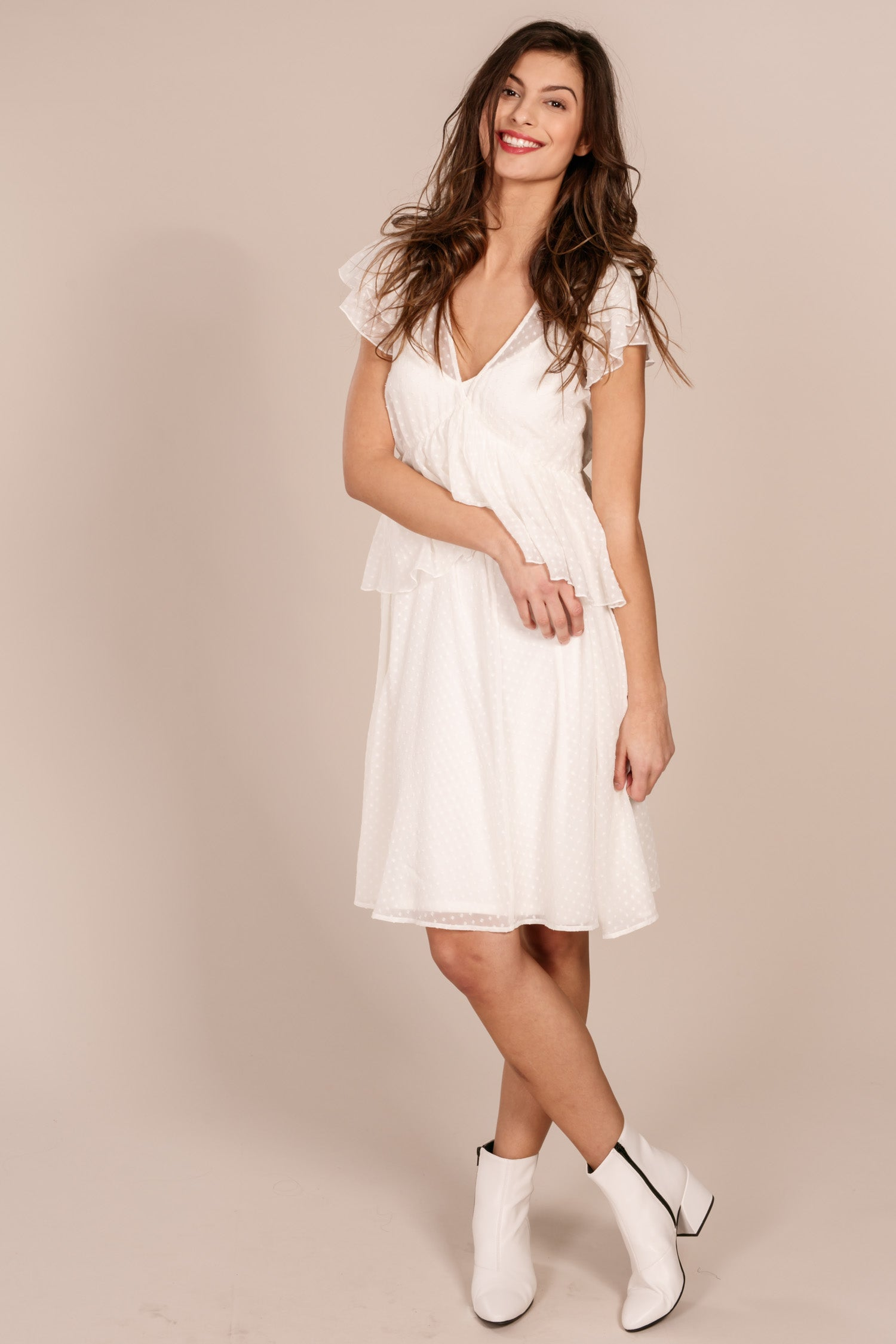 Dottie peplum dress - Offwhite