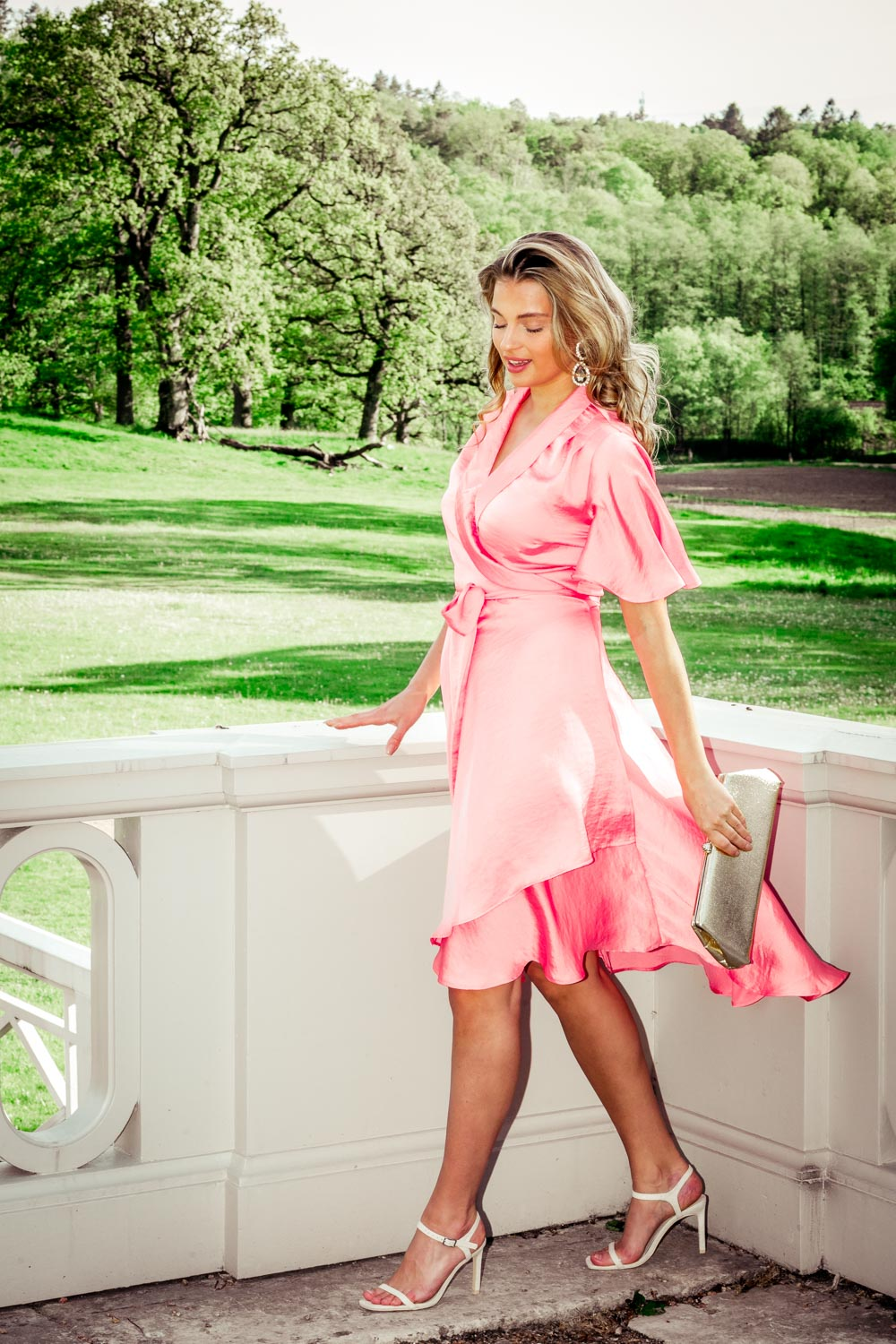 Solange wrap dress - Dusky pink
