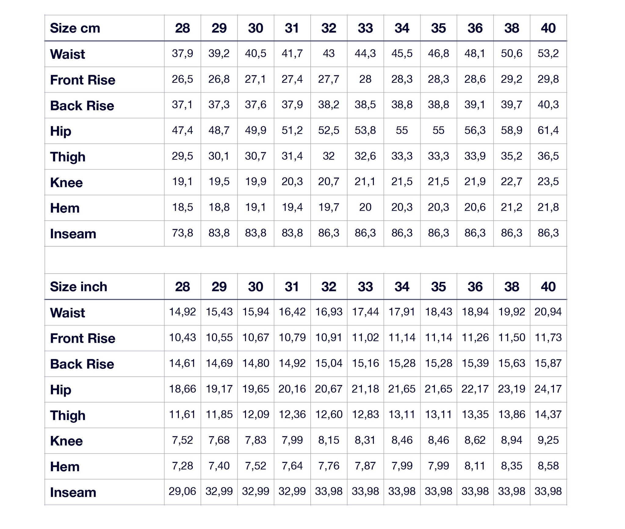 M2 Size Guide