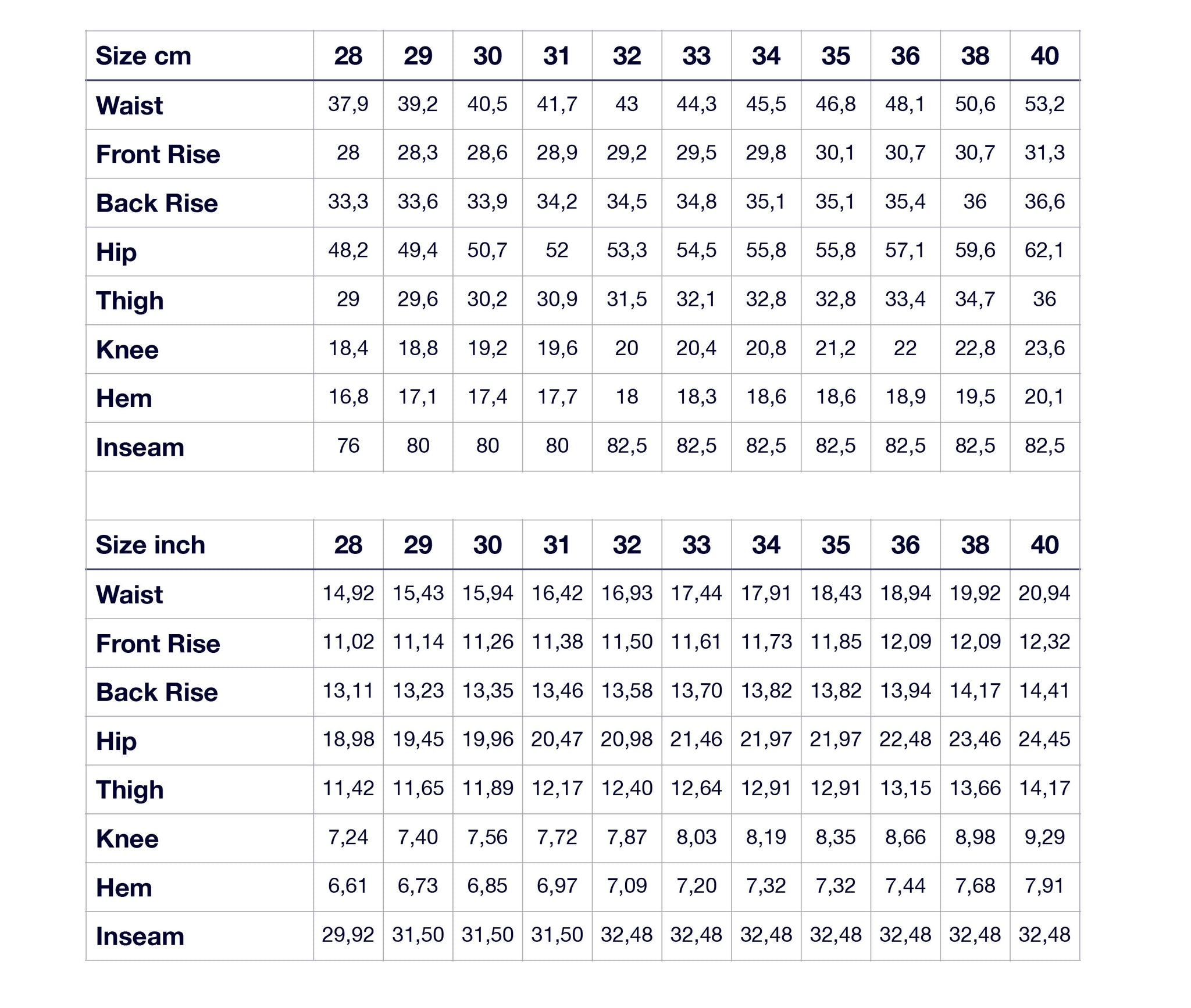 M7 Size Guide