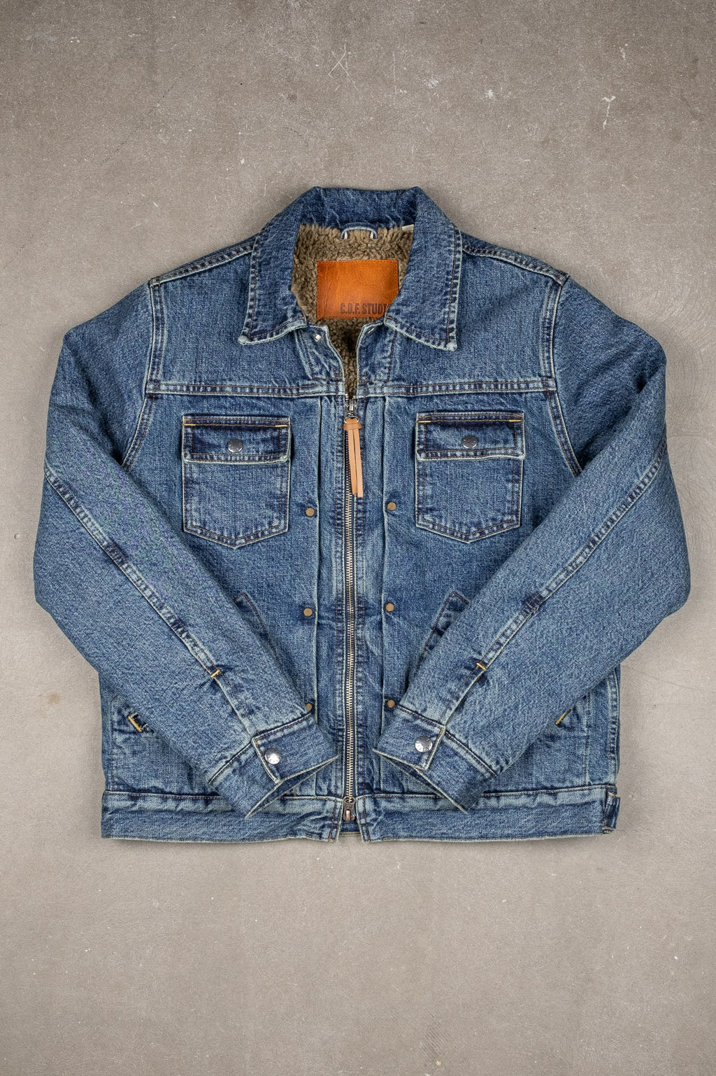Denim Zip Jacket Sherpa - 5x Wash