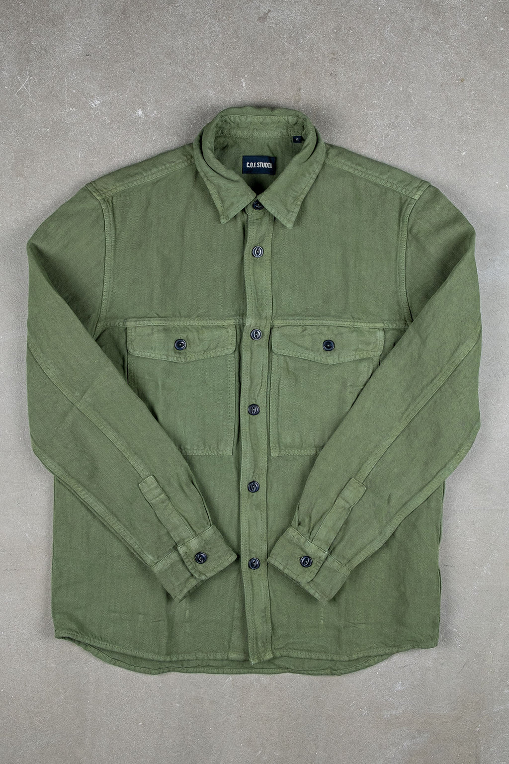 Shacket Cotton Linen Twill - Military