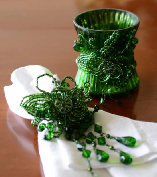 Beaded Napkin Rings & Candle Holders