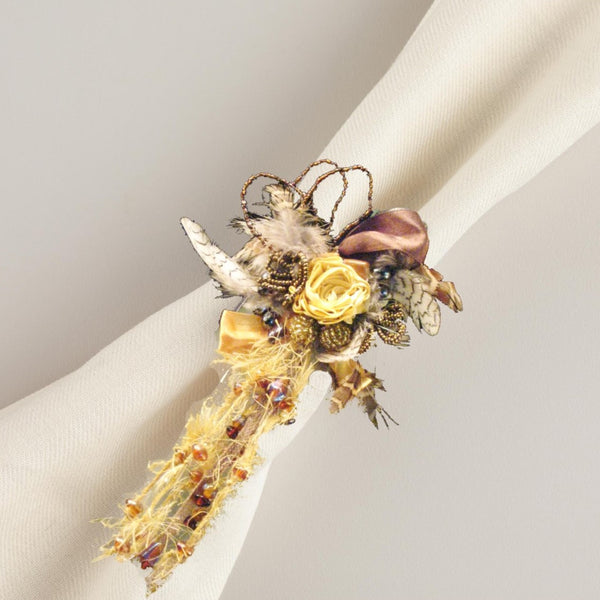 Light Gold Feathers & Ribbons Napkin Rings Set of 4