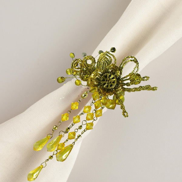 Beaded Gold Napkin Rings Set of 4