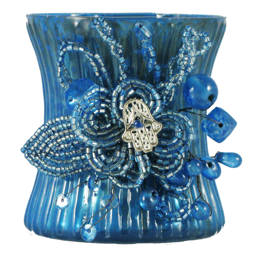 Votive Holder Blue/Hand Symbol