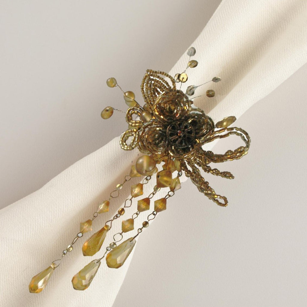 Beaded Amber Napkin Rings Set of 4