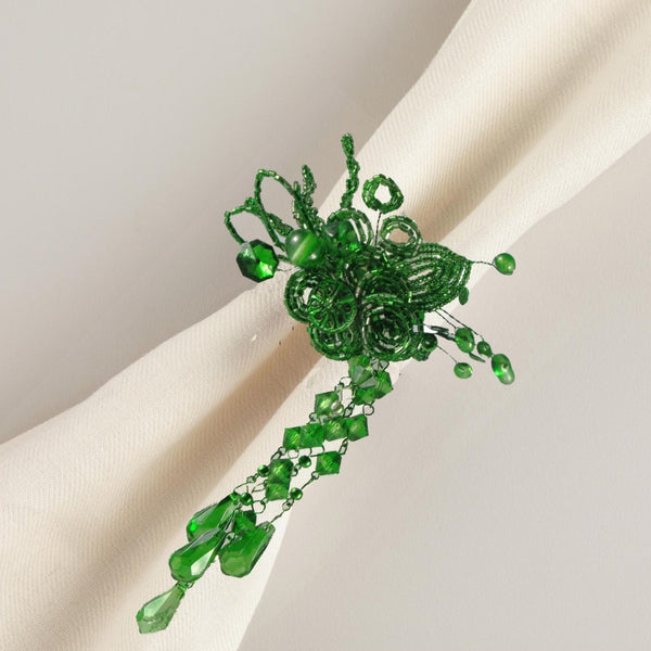 Beaded Green Napkin Rings Set of 4