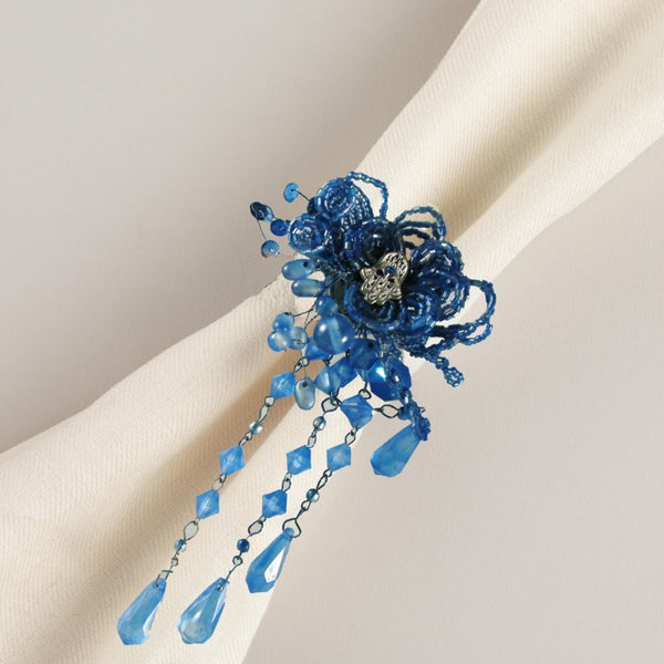 Beaded Blue Napkin Rings Set of 4