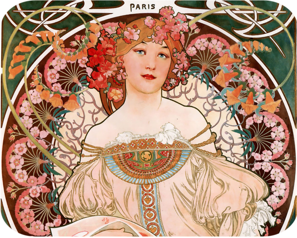 Art Nouveau Paris Lady Hot Pads/Mouse Pads - Golden Hill Studio