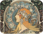 Art Nouveau Zodiac Lady Hot Pads/Mouse Pads - Golden Hill Studio