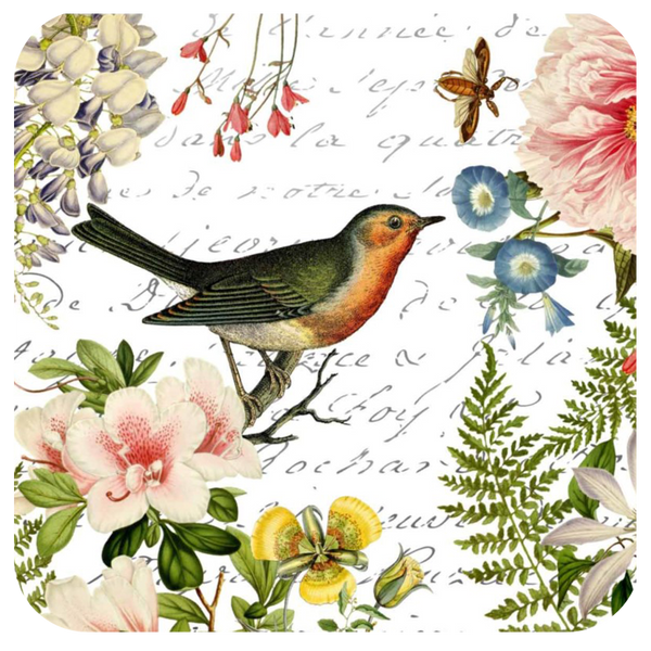 Bird Floral Coaster S/6 - Golden Hill Studio