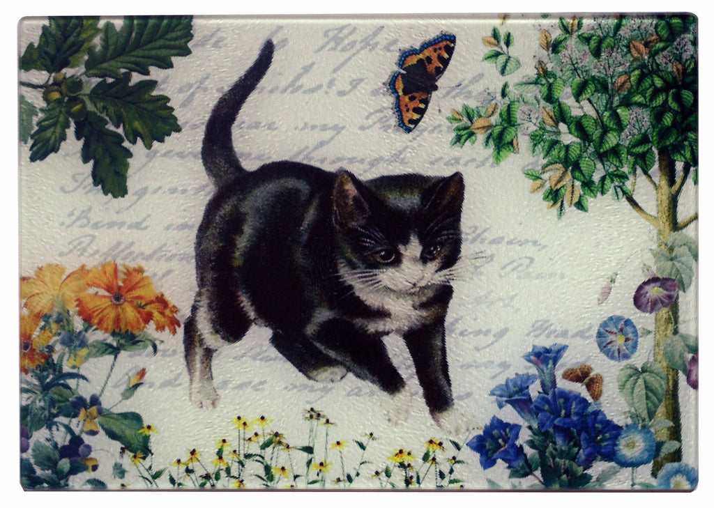 Kitten & Butterfly Cheese Tray/Cutting Board - Golden Hill Studio
