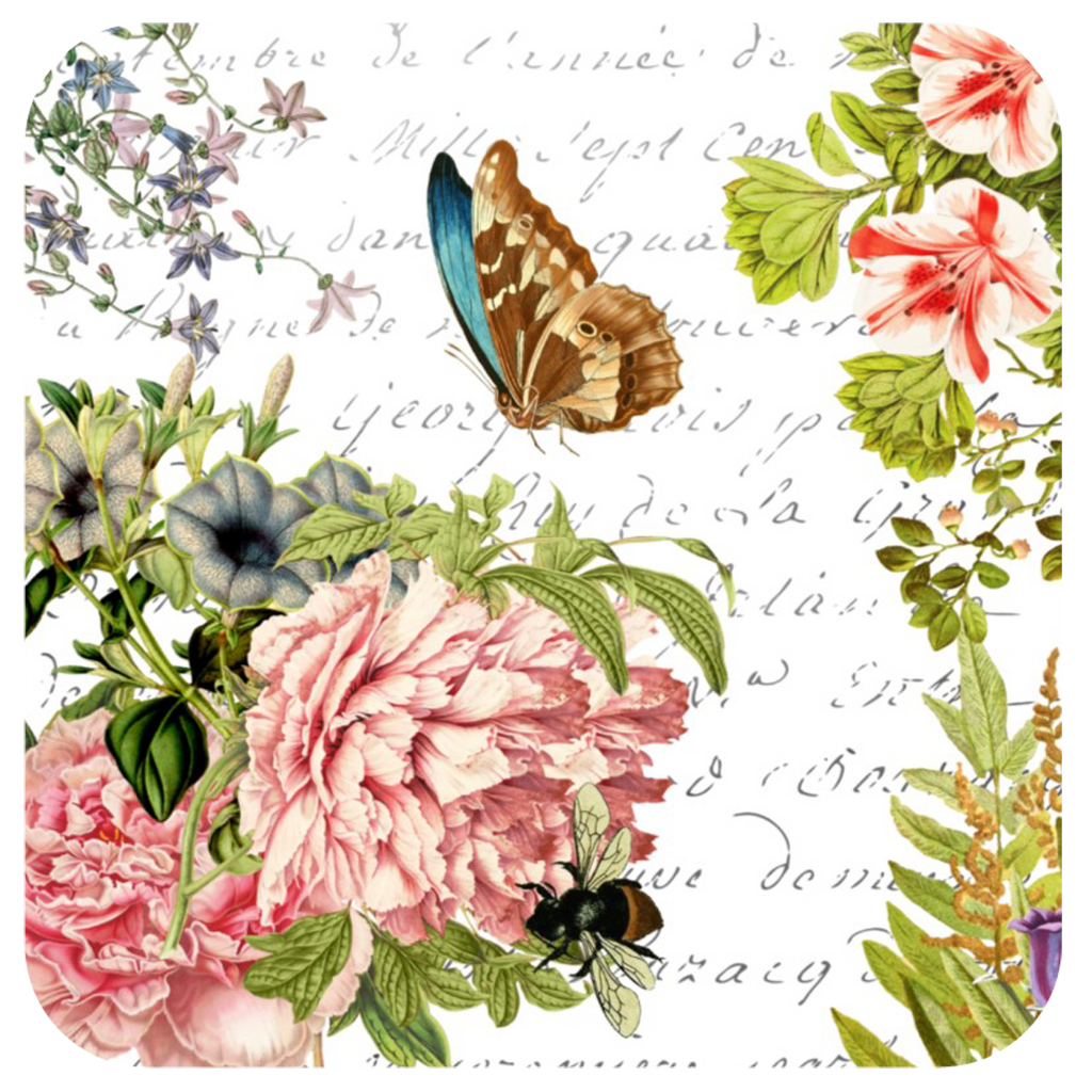 Butterfly Floral Coaster S/6 - Golden Hill Studio