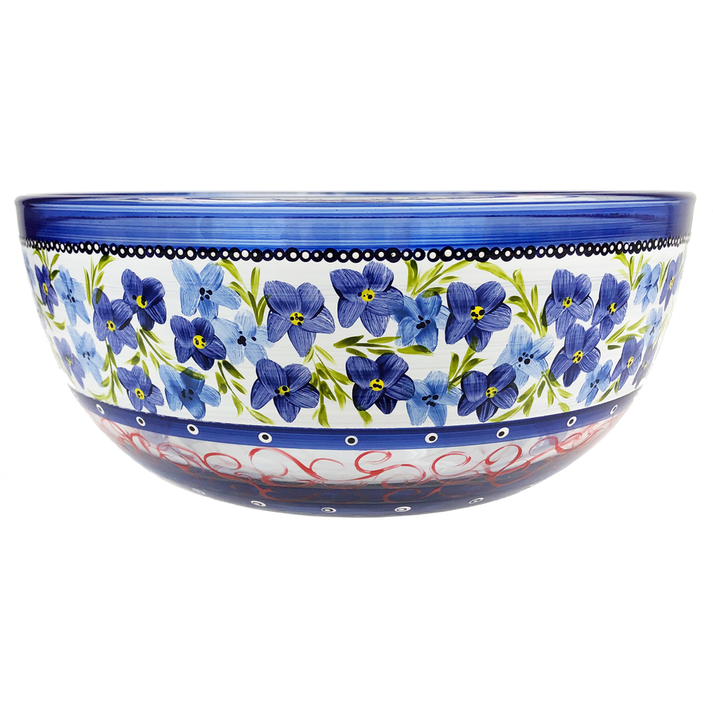 "Barcelona Blue Flowers 11"" Bowl - Golden Hill Studio"