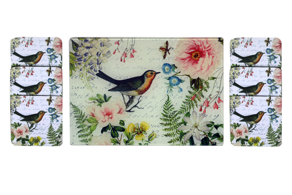 Bird Floral Cheese Tray/Cutting Board & Coaster Set