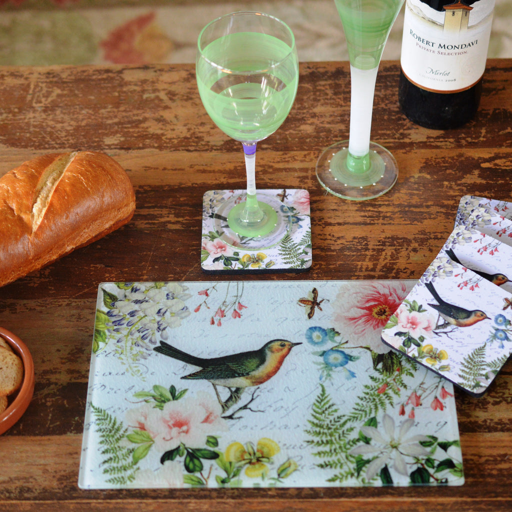 Bird Floral Cheese Tray/Cutting Board & Coaster Set - Golden Hill Studio