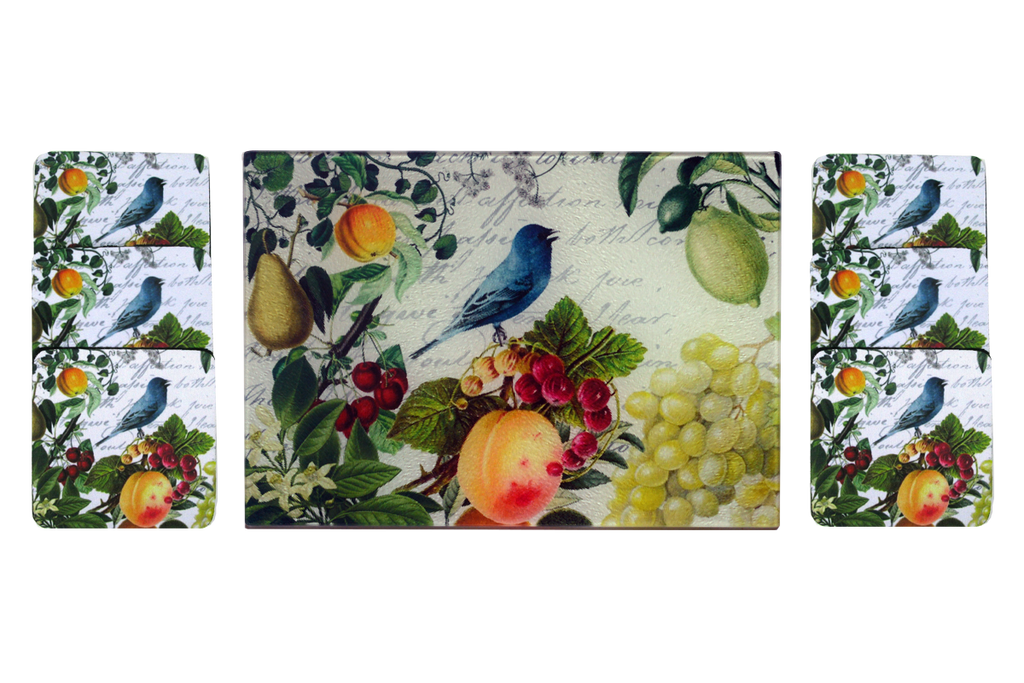 Blue Bird & Fruit Cheese Tray/Cutting Board & Coaster Set - Golden Hill Studio
