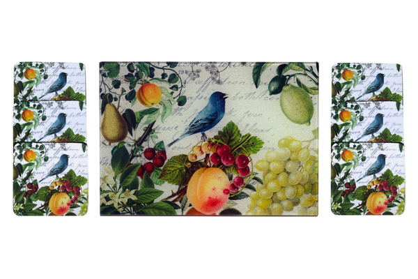 Blue Bird & Fruit Cheese Tray/Cutting Board & Coaster Set