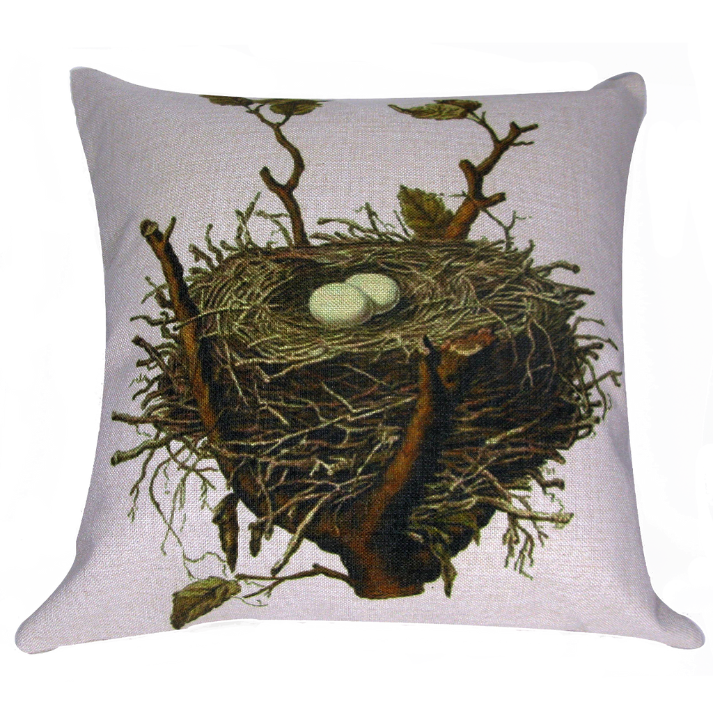 "Bird Nest Pillow 18"" x 18"" - Golden Hill Studio"