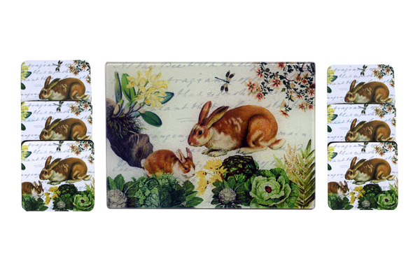 Bunny & Dragonfly Cheese Tray/Cutting Board & Coaster Set - Golden Hill Studio