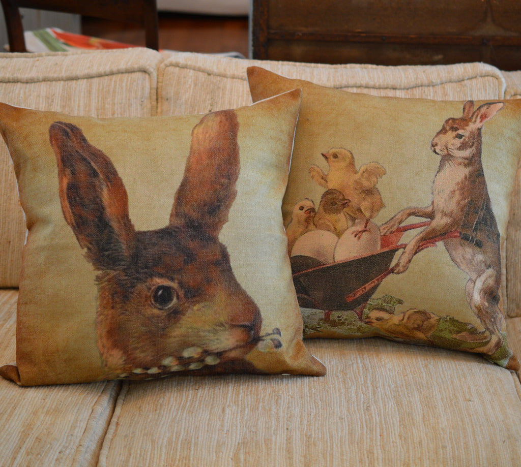 "Bunny with Chicks Throw Pillow  14"" x 14"" - Golden Hill Studio"