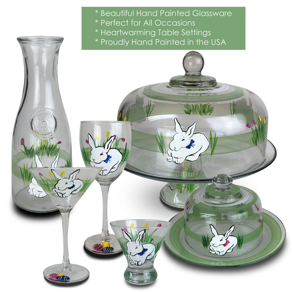 Springtime Bunny and Tulips Carafe - Golden Hill Studio