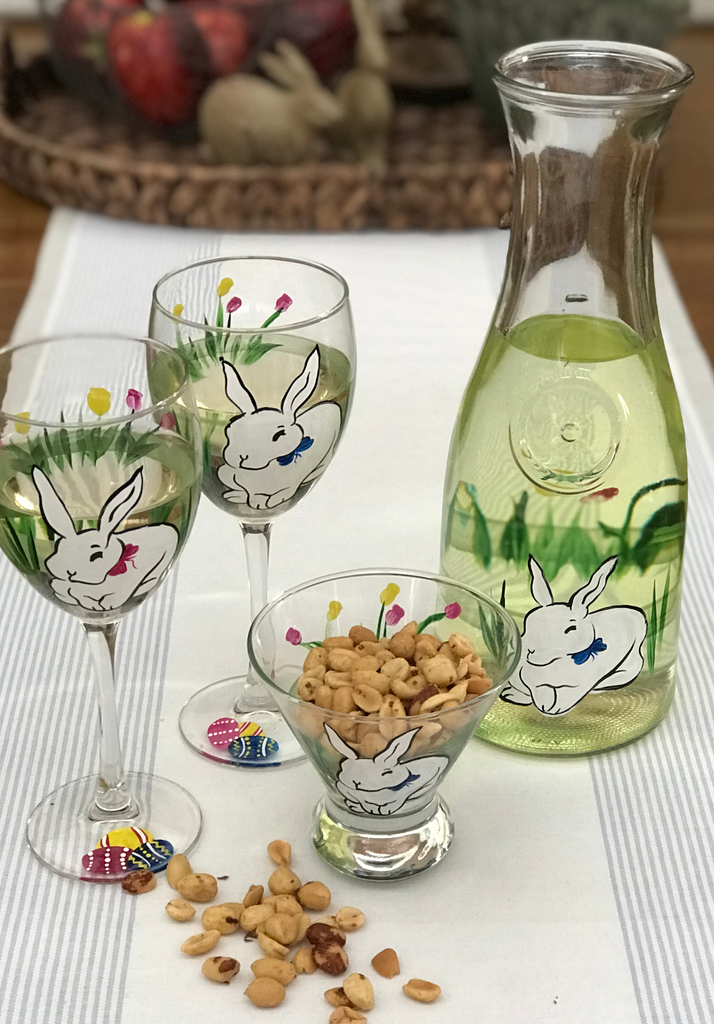 Springtime Bunny and Tulips Wine Glass S/2 - Golden Hill Studio
