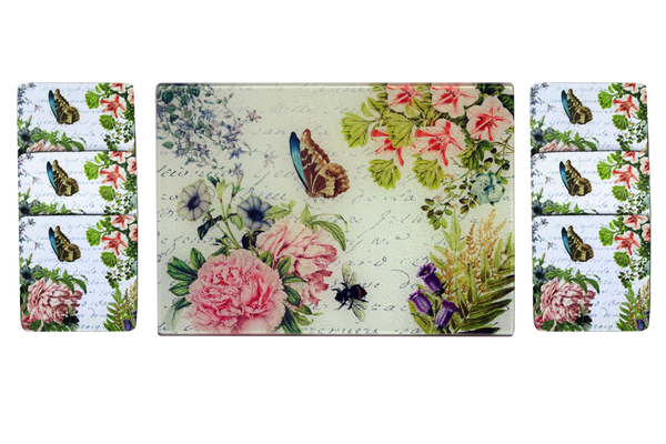 Butterfly Floral Cheese Tray/Cutting Board & Coaster Set - Golden Hill Studio