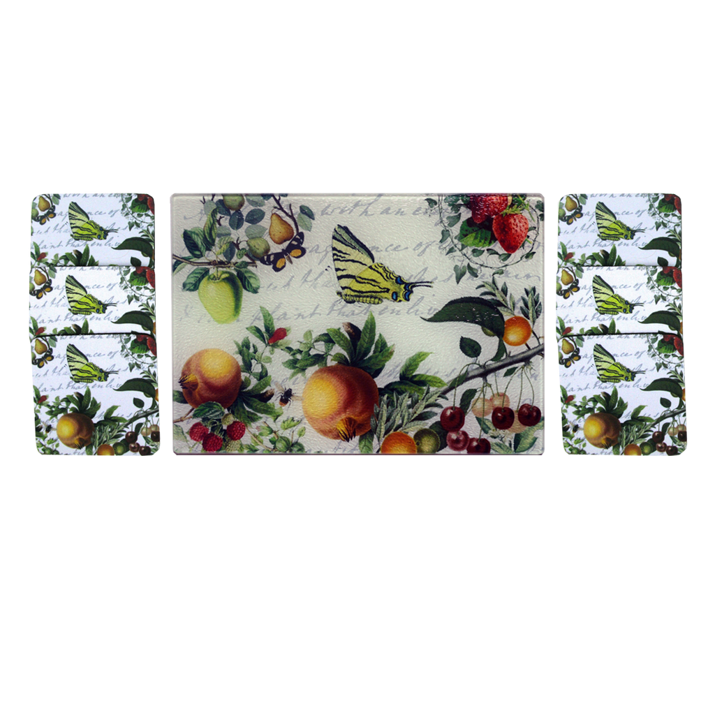 Butterfly & Fruit Cheese Tray/Cutting Board & Coaster Set - Golden Hill Studio