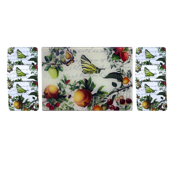 Butterfly & Fruit Cheese Tray/Cutting Board & Coaster Set