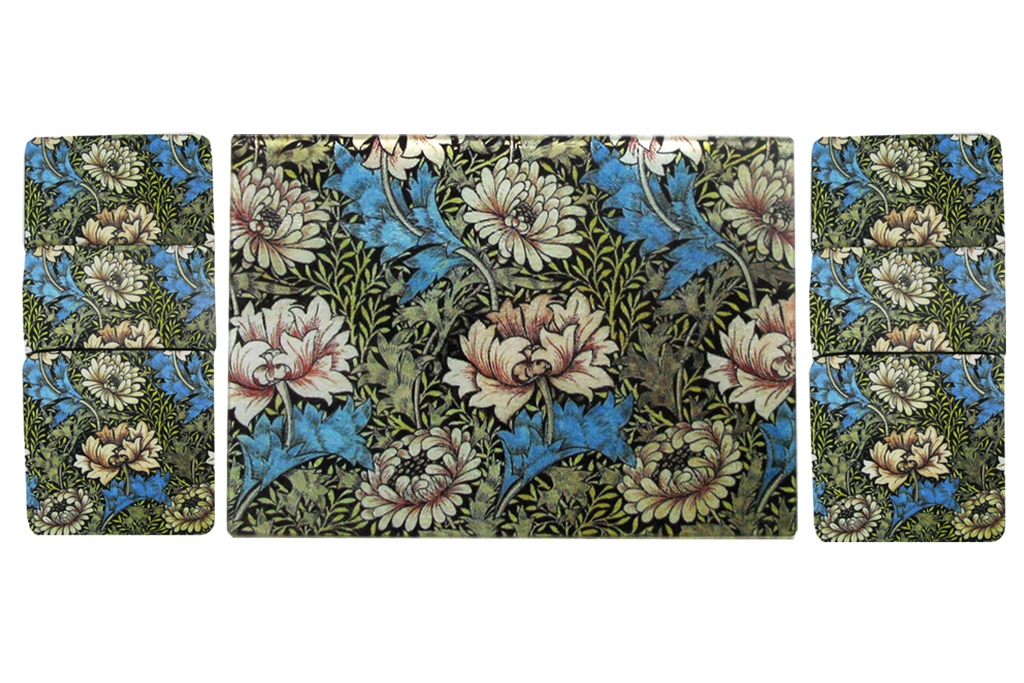 William Morris White Flower Cheese Tray/Cutting Board & Coaster Set - Golden Hill Studio