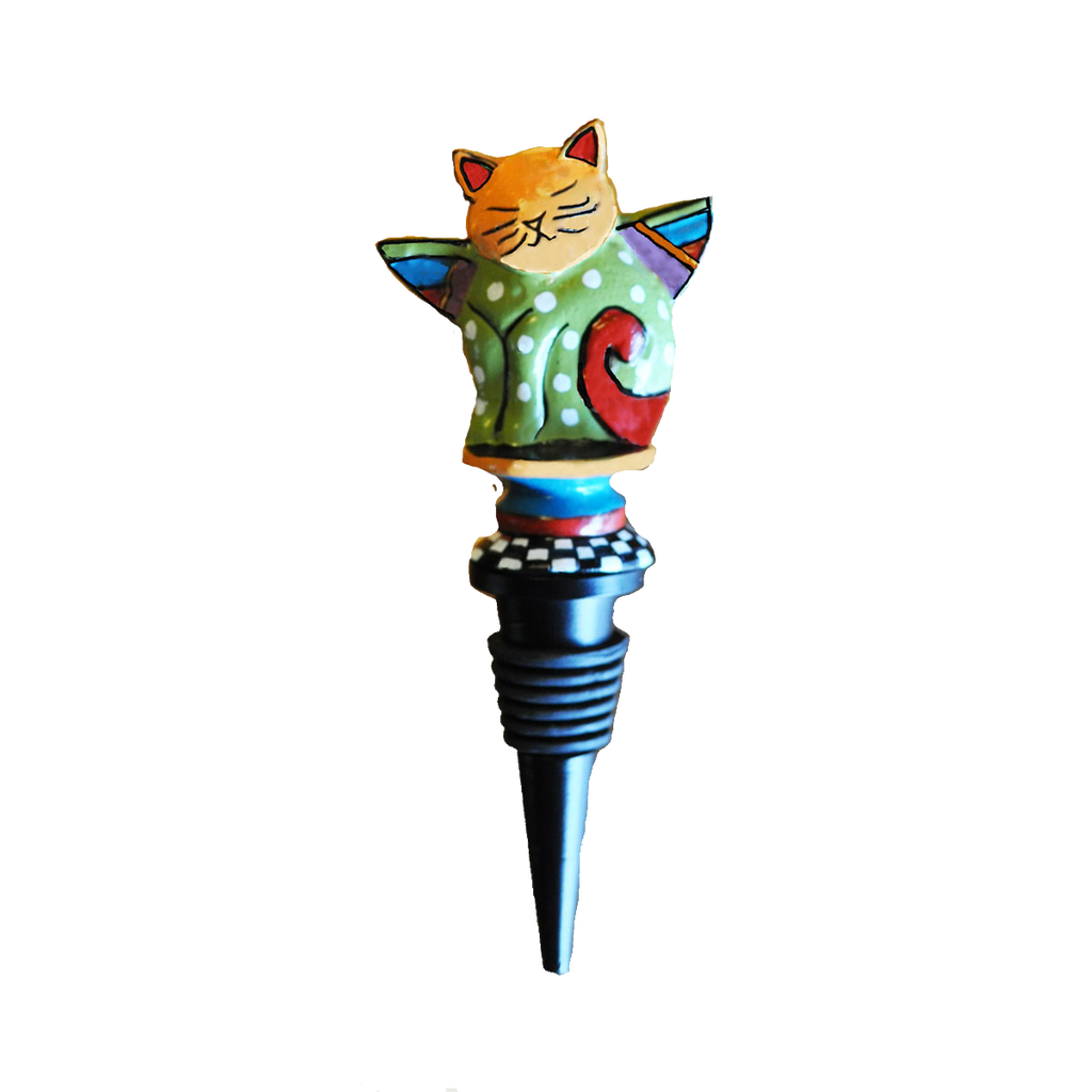 Metal Cat Wine Bottle Stopper - Golden Hill Studio