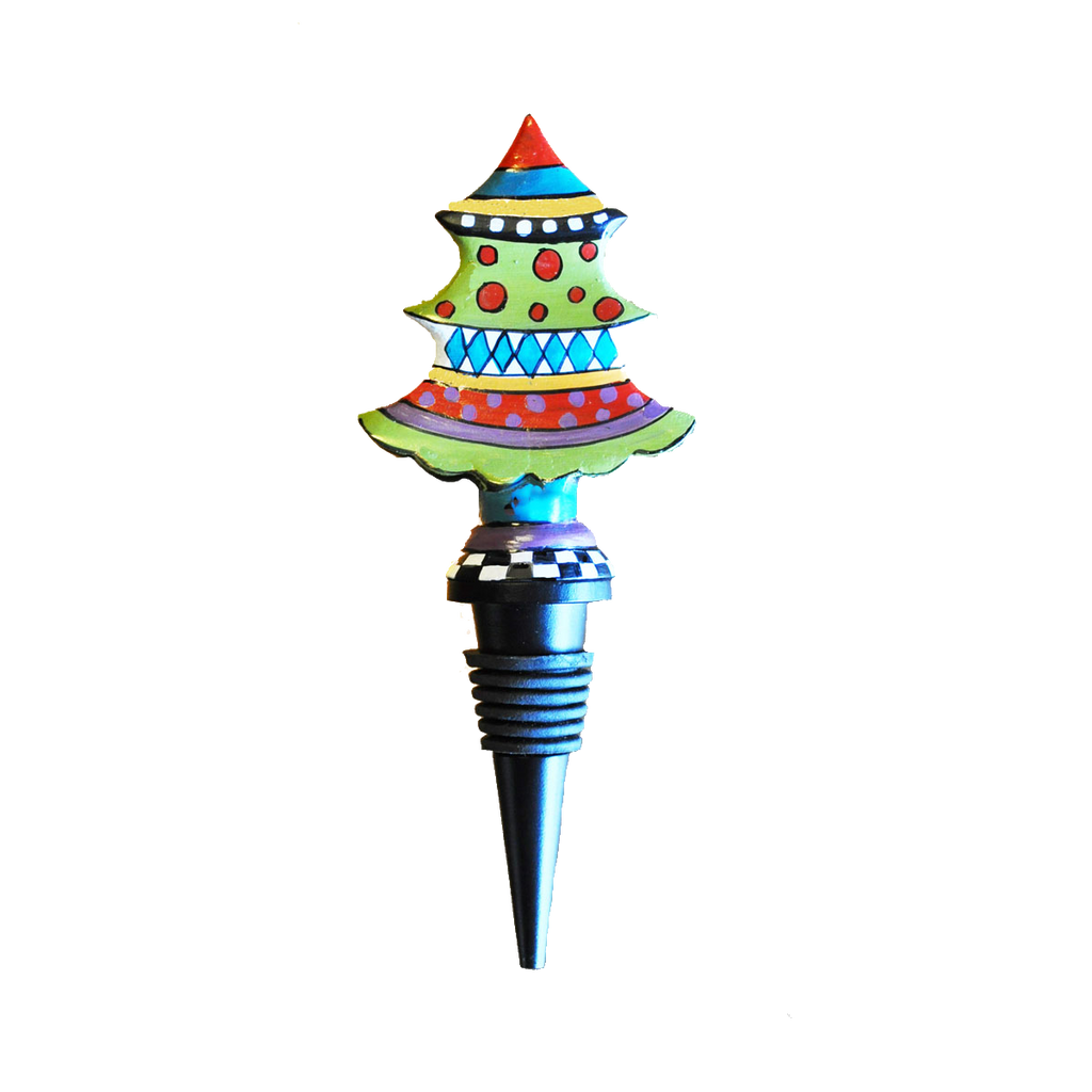 Metal Christmas Tree Wine Bottle Stopper - Golden Hill Studio