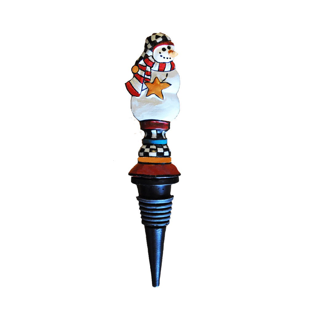 Metal Snowman Wine Bottle Stopper - Golden Hill Studio