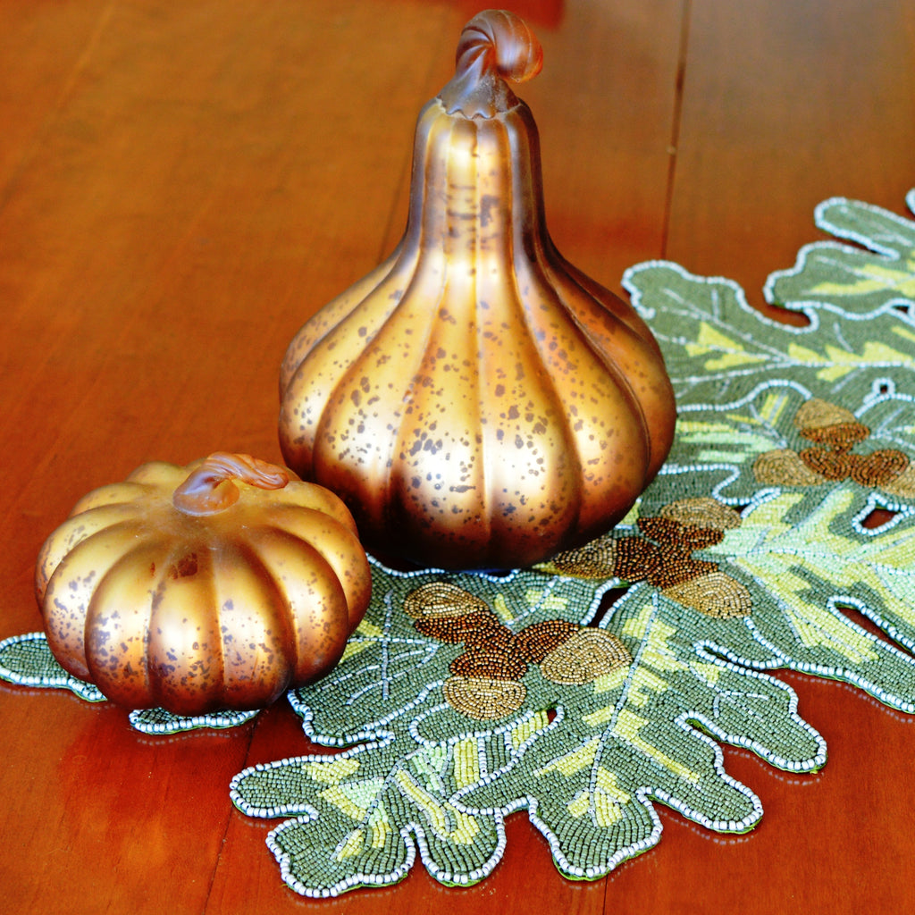 Acorn Beaded Table Runner - Golden Hill Studio