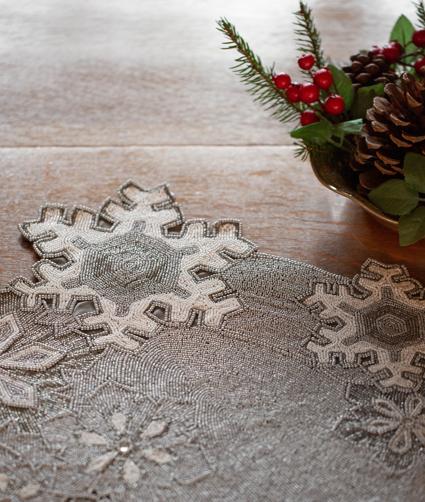 Beaded Snowflake Runner - Golden Hill Studio