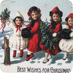 Best Wishes Christmas Coaster S/4 - Golden Hill Studio